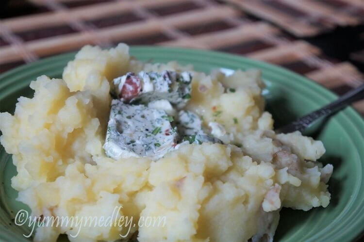 Bacon and Garlic Herb Compound butter - amazing on some mashed potatoes!