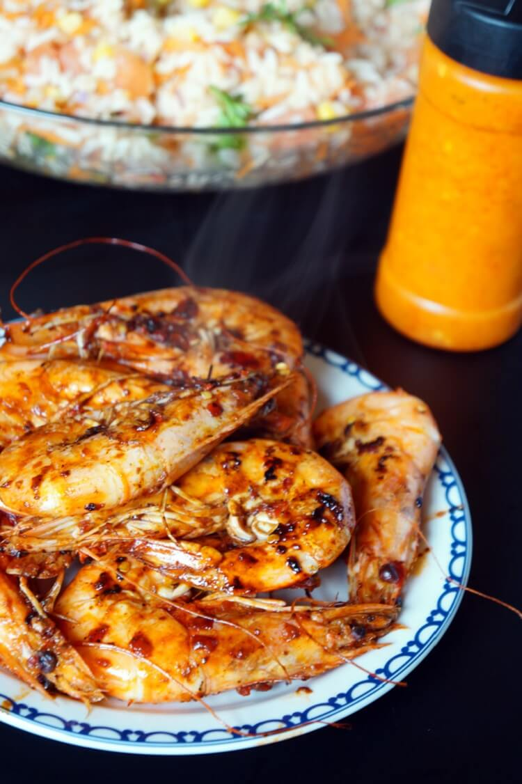 Spicy Peri Peri Prawns - Served with some rice and more peri peri sauce on the side