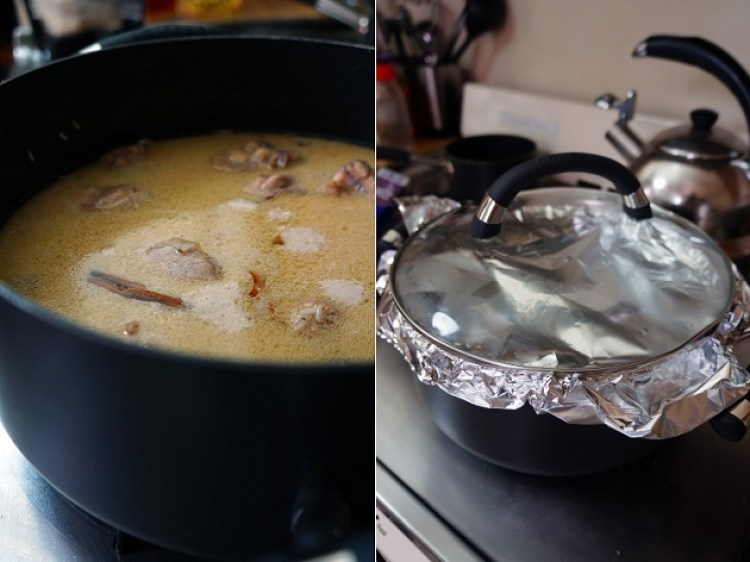 chicken cooked in pot with foil paper cover