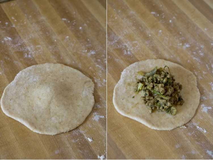 2-step image showing how to stuff East African keema chapati