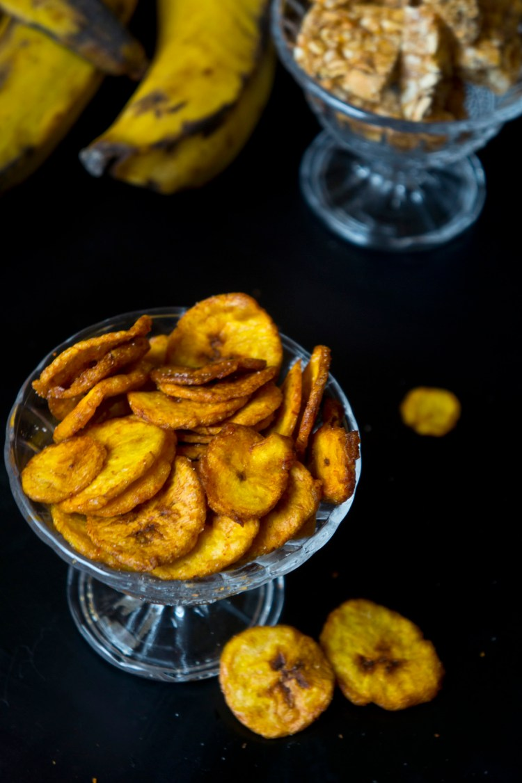 Nice and crispy plantain chips in a bowl