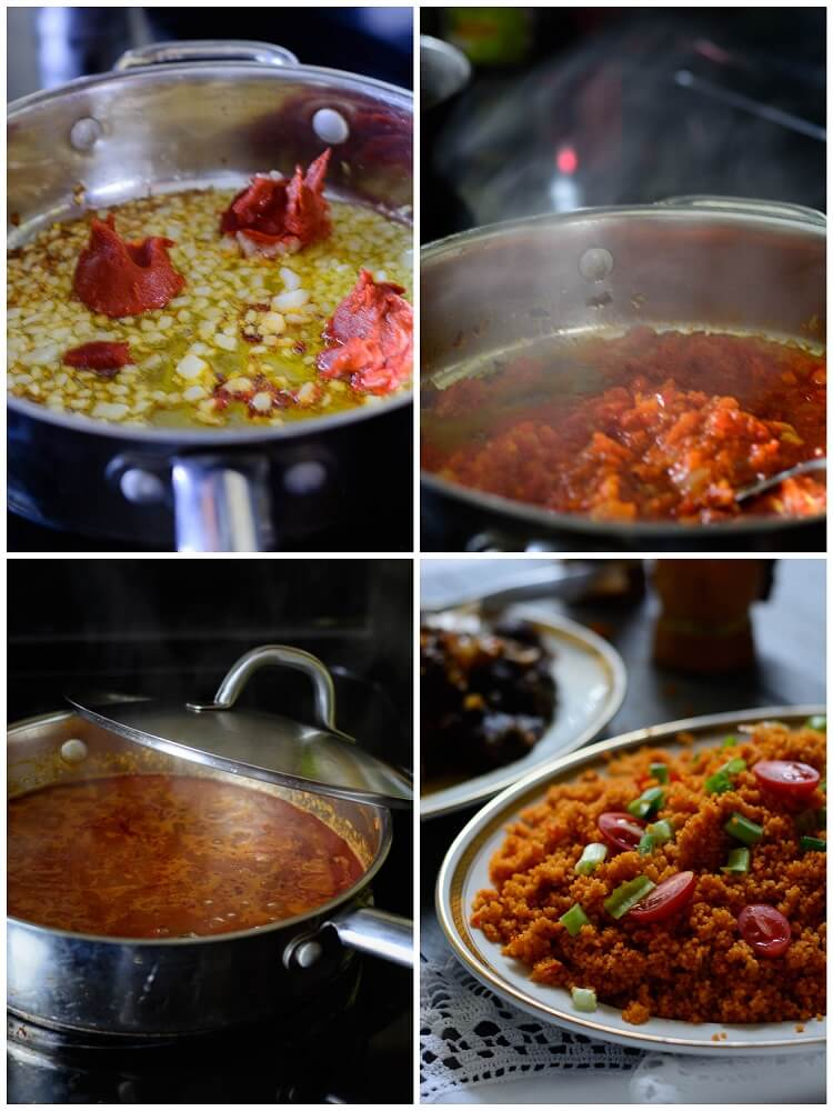 Jollof Couscous in 20 Minutes! - Sauteing onions and tomato paste in a pot, adding peppers, onions and chicken broth to simmer, adding rice to complete dish