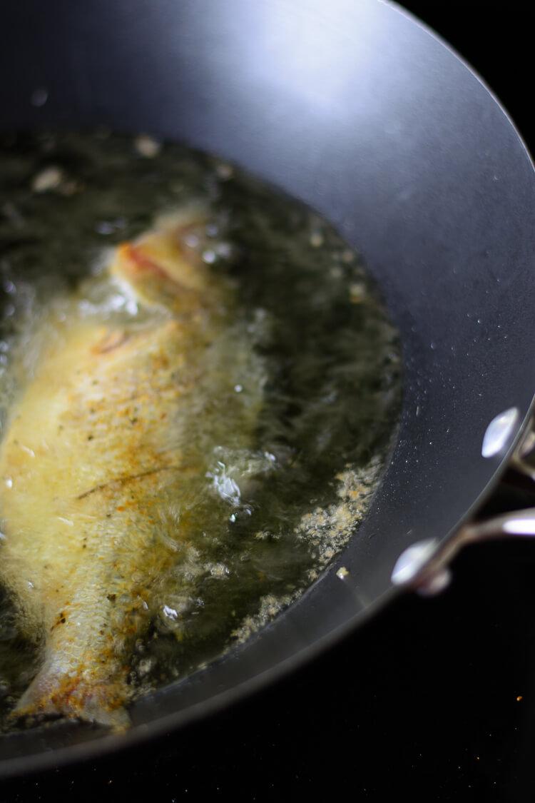 frying perch in oil