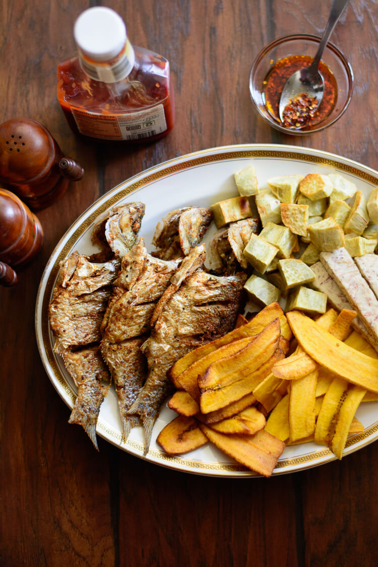 Alternative Chips & Fish: Tropical and Tasty - fried perch with fried sweet potato cubes, fried taro root, and some plantain chips