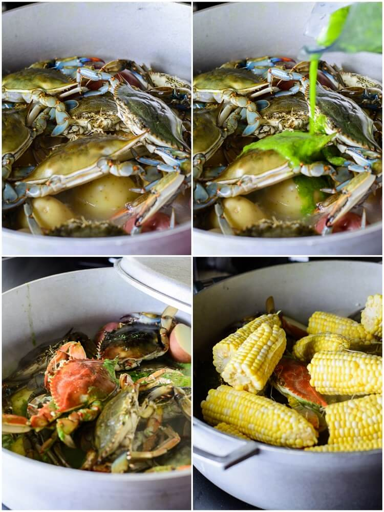 Best Summer Seafood Boil with Homemade Seasoning - Crabs and Corn with custom seasoning poured in