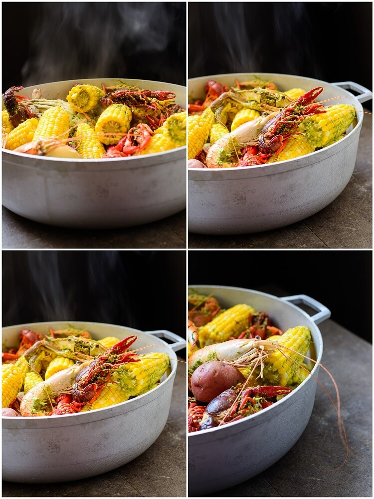 Best Summer Seafood Boil with Homemade Seasoning - Steaming pot of seafood boiled in pot
