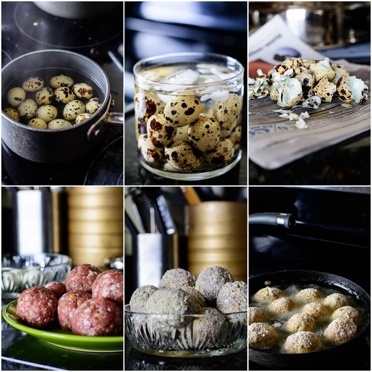 Quail Egg Scotch Eggs with Homemade Sausage - quail eggs boiled, homemade sausages coated with flour and bread crumbs frying in a pan