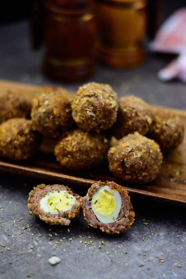 quail egg scotch eggs with homemade sausage yummy medley