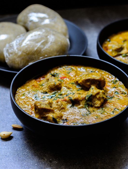Groundnut Soup (Spicy Nigerian Peanut Stew) - Delicious groundnut stew dished with three wraps of eba