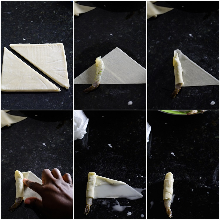 6-step photo showing wrapping of shrimp with spring roll wrapper