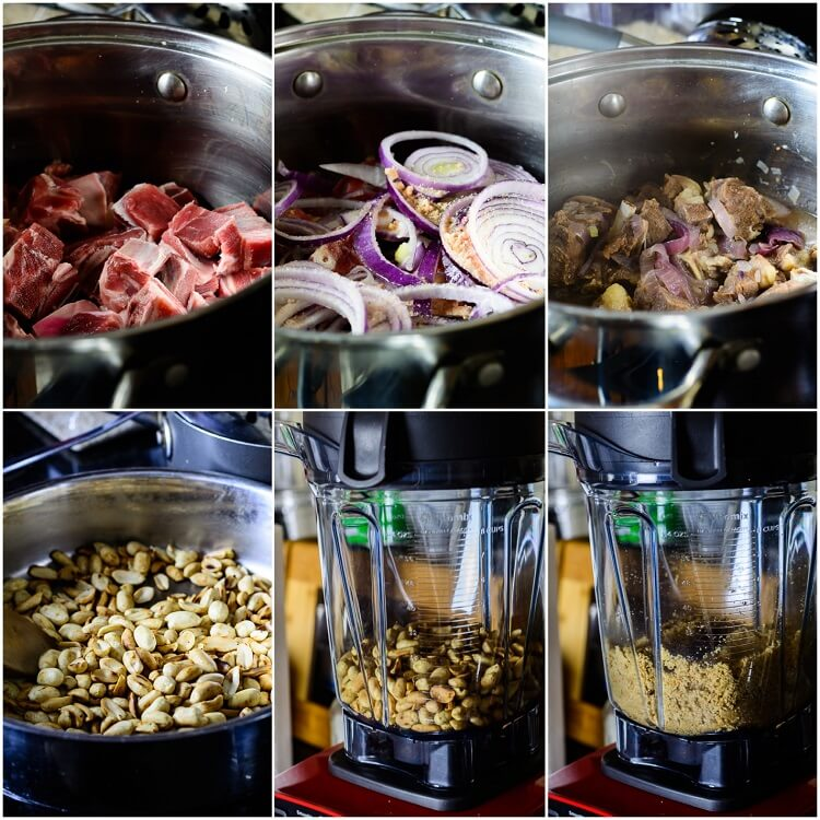 Groundnut Soup (Spicy Nigerian Peanut Stew) - Blended peanuts in blender, roasted in pot, meat with onion spices boiled in pot