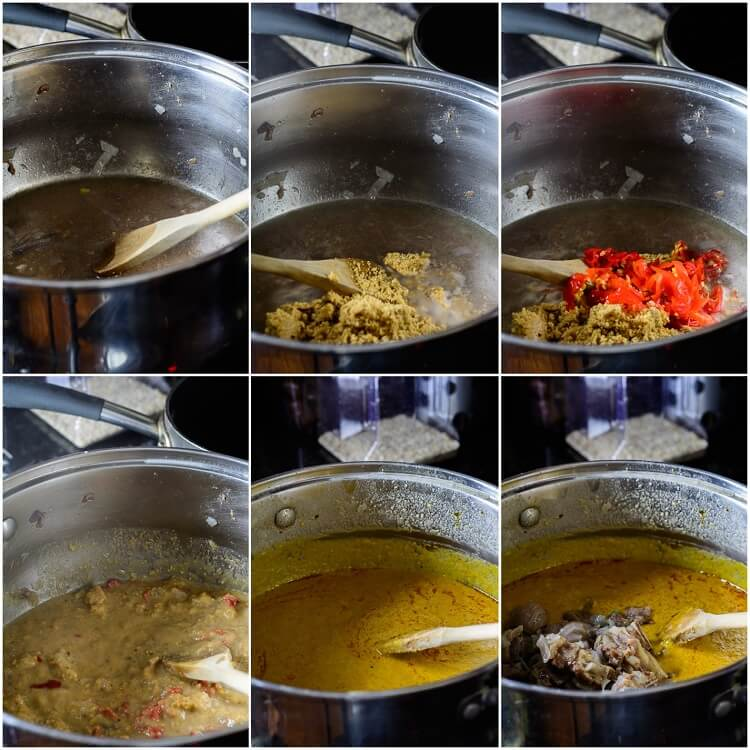 6-step collage showing cooking of peanuts in stock