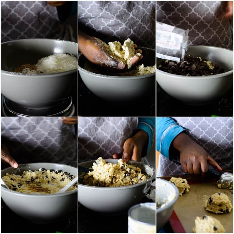 Vegan Chocolate Chip Rock Cakes batter preparation collage - adding coconut to bowl, mixing, adding chocolate chips, pouring wet ingredients, mixing wet with dry ingredients, scooping to baking pan
