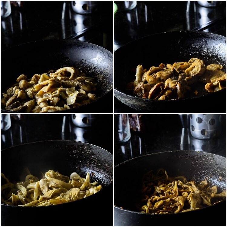 Jamaican Jerk Mushroom pizza - Mushroom ingredients: Straw mushrooms cooked before and after, Oyster Mushrooms cooked before and after