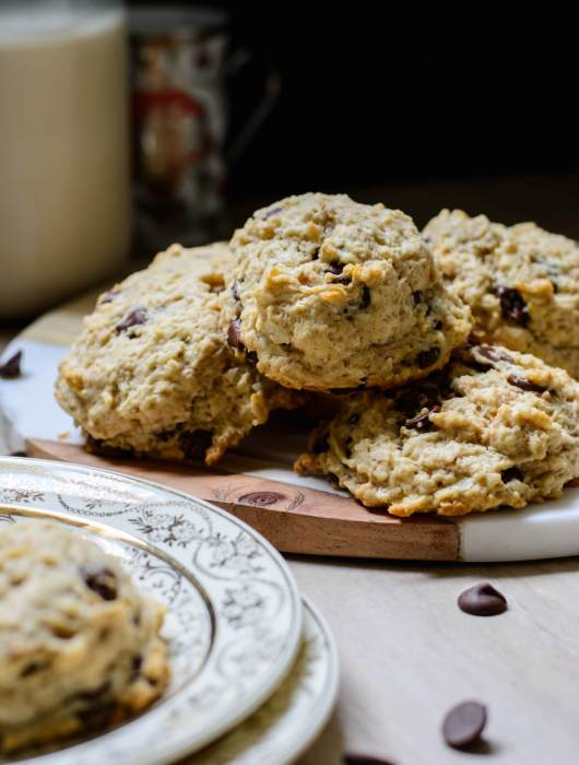 Vegan Chocolate Chip Rock Cakes - Stacked in Focus