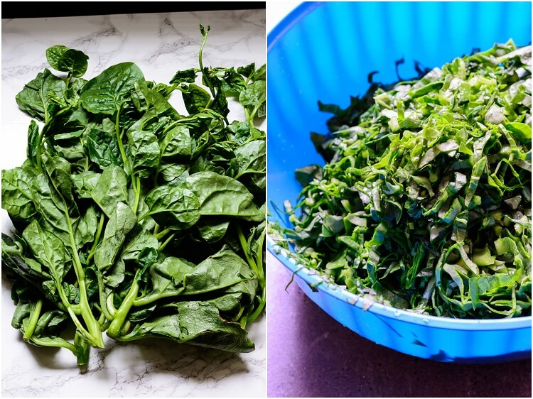 whole and sliced malabar spinach or waterleaf
