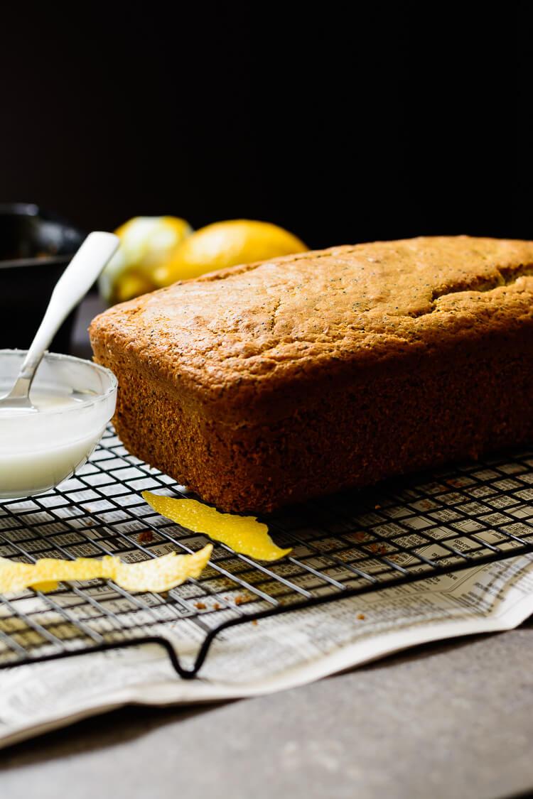 vegan lemon poppy seed loaf cake - loaf ready for lemon glaze