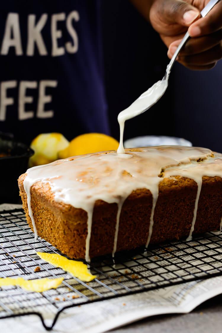 vegan lemon poppy seed loaf cake - getting more of that homemade lemon glaze