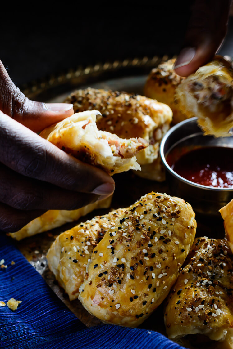 Pancetta and Chicken Sausage Rolls - tearing into that beautiful meat filling