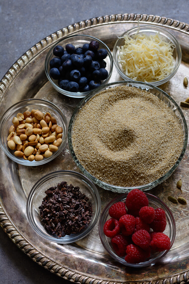 Fonio Cereal/Acha Pudding - toppings and ingredients for fonio recipe top shot