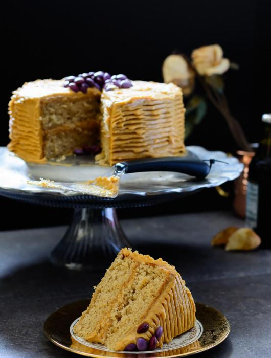 Vanilla Malt Cake with Caramel Cream Cheese Frosting