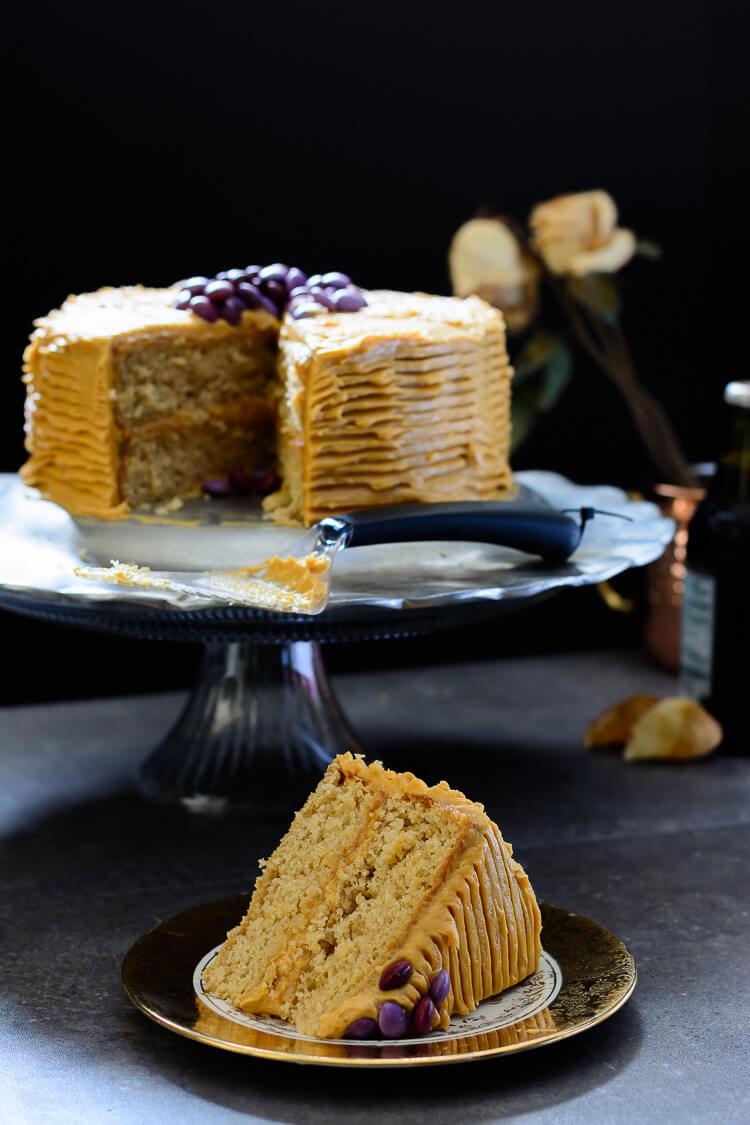 Vanilla Malt Cake with Caramel Cream Cheese Frosting