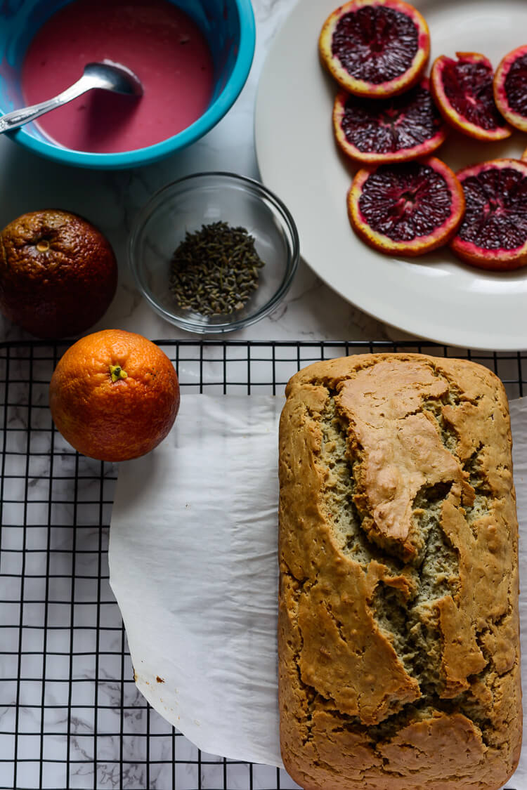 Vegan Blood Orange Pound Cake - Ingredient layout