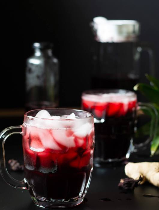 Zobo Drink (Sobolo/Bissap Juice/African Hibiscus Tea) in a cup