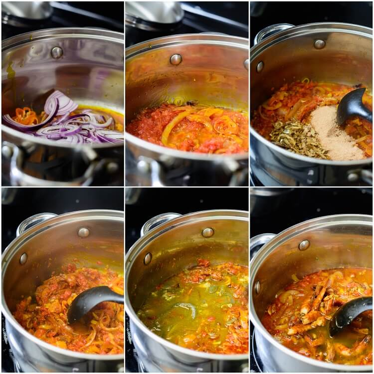 Seafood Beniseed Soup - frying the onions, shrimp and pepper mix