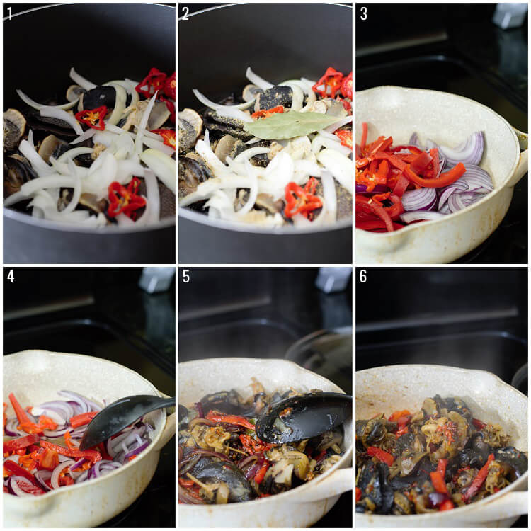 6-step photo of how to cook spicy snails.