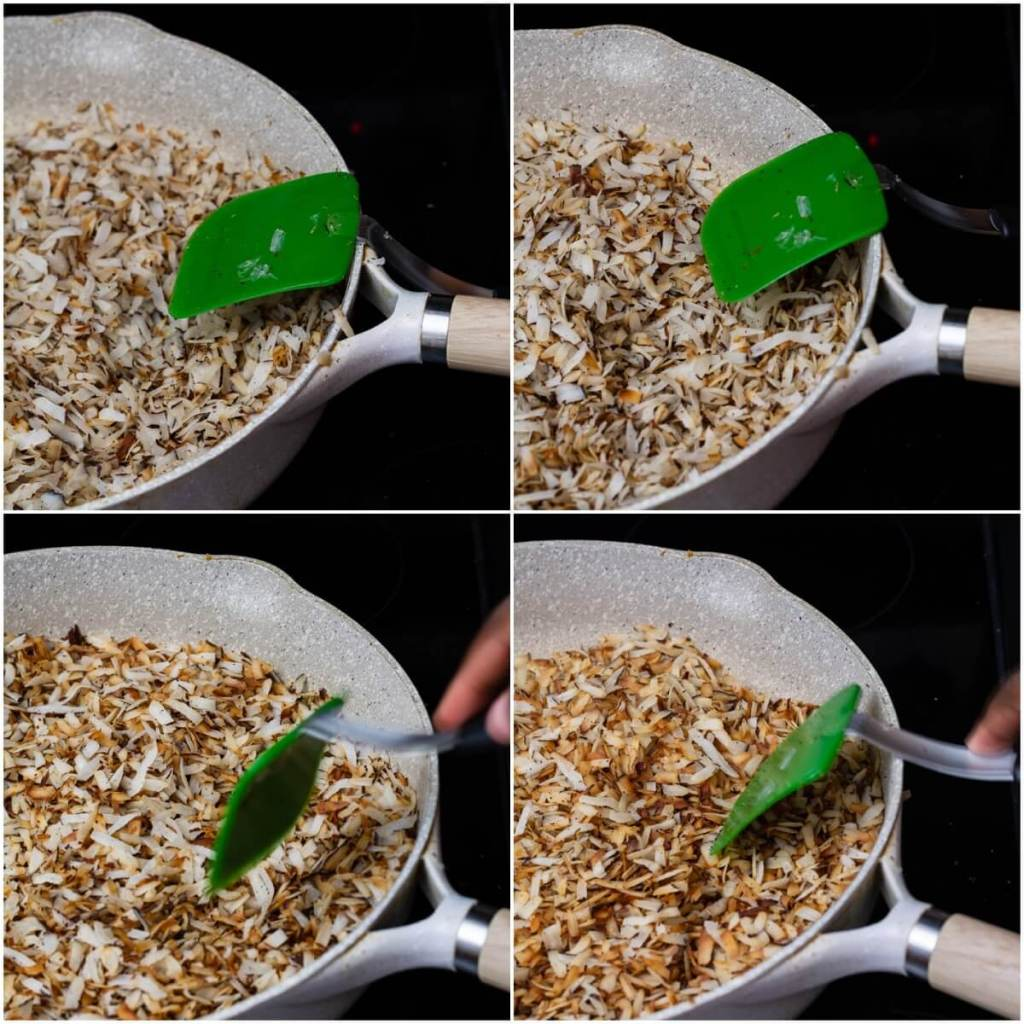 stirring coconut shreds in pan until brown and dry