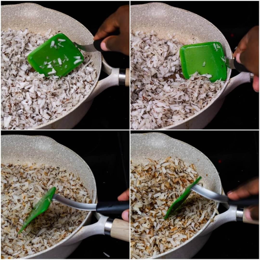 stirring coconut shreds in pan until golden brown