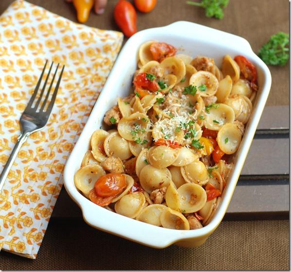 Sausage and cherry tomato pasta