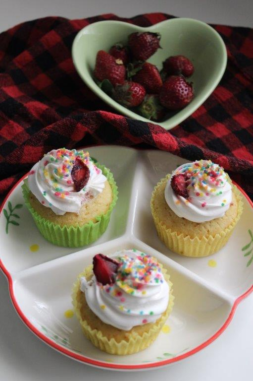 Strawberry Jelly Filled Cupcakes