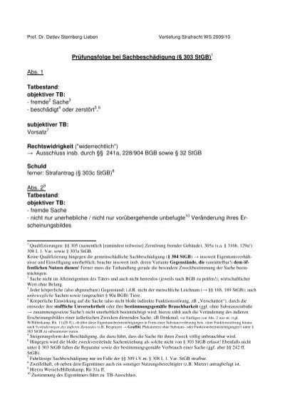 Pr195188fungsfolge bei Sachbesch195164digung 194167 303 StGB1 Abs 1