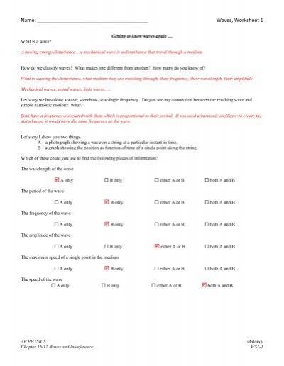 Waves Worksheet 1