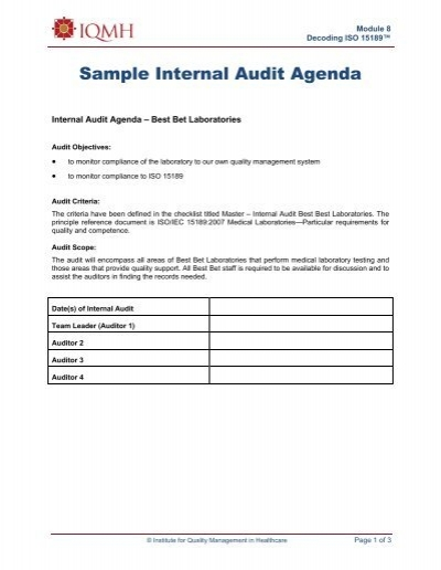 This post is a collection of audit agenda templates that you may download and use as references in creating this specific kind of agenda. Sample Internal Audit Agenda Lab Quality Confab