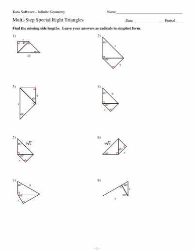 8 Multi Step Special Right Triangles