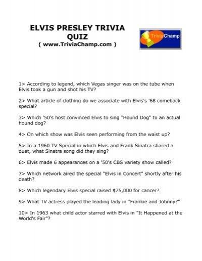 Elvis Presley Trivia Quiz