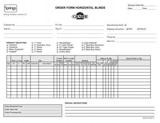 Order Form Horizontal Blinds DSC Window Fashions