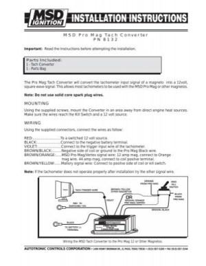 MSD Pro Mag Tach Converter PN 8132 MOUNTING WIRING