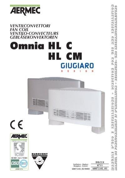 Installation manual fan coil Aermec Omnia HL