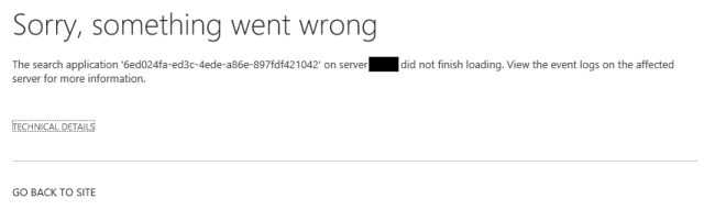 Sharepoint search page error