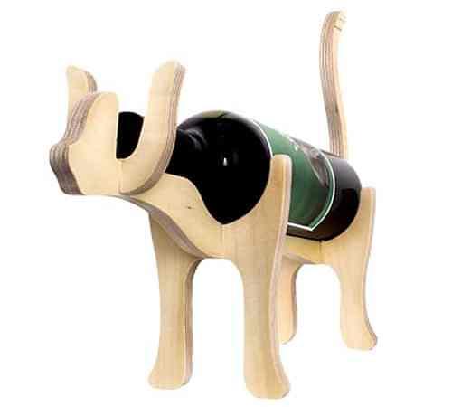 Animal Bones Wooden Bottle Holder – Cat