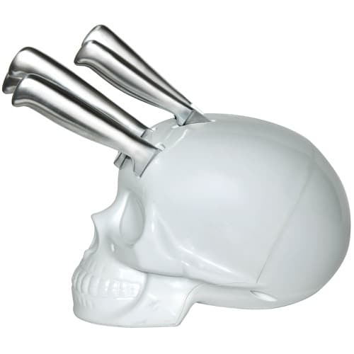 Skull Kitchen Knife Block - White