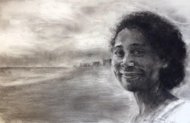 yuri ozaki, charcoal drawing