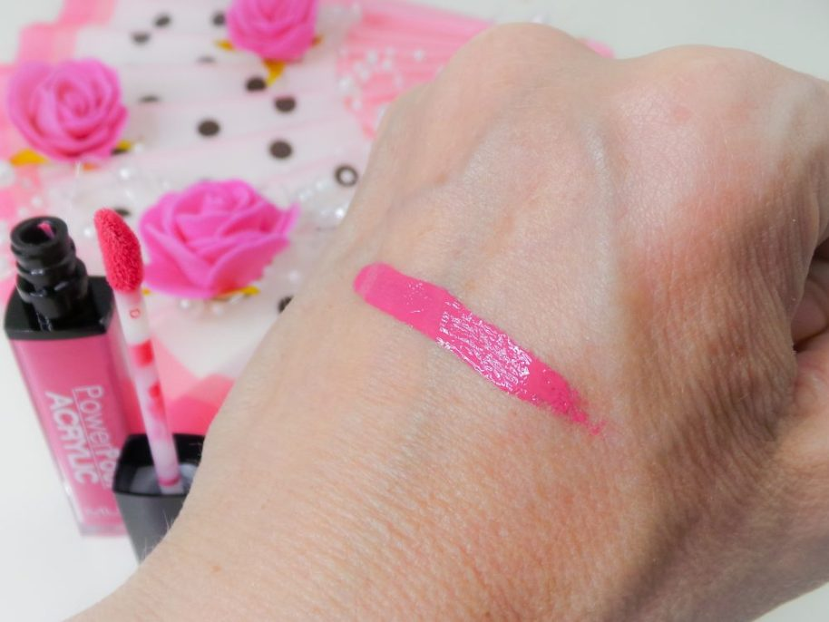MUA lipstick supreme swatch review beauty blog Powerpout acrylic