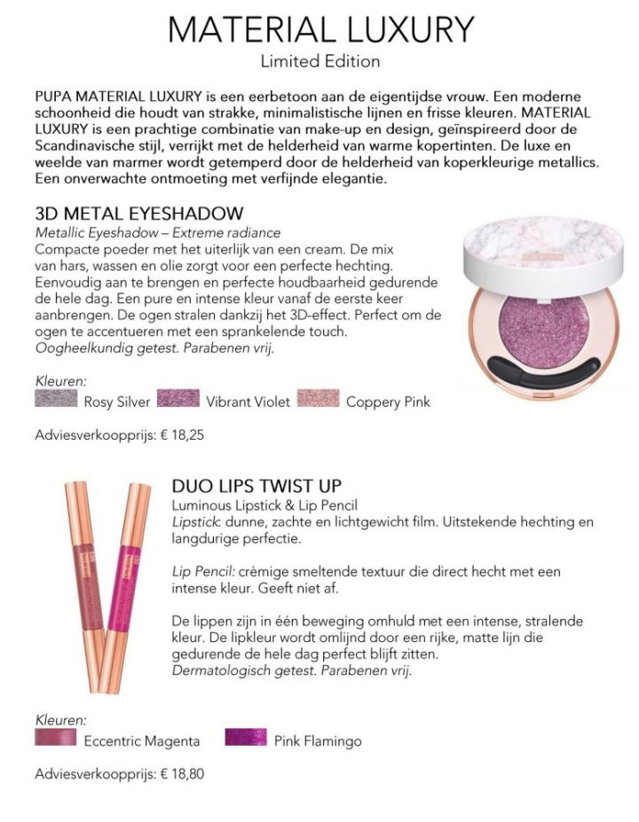 Persbericht, Pupa, Milano, luxury, material, limited, Edition, Scandinavië, Italiaans, care, cosmetics, voorjaar, 2018, beauty, blogger