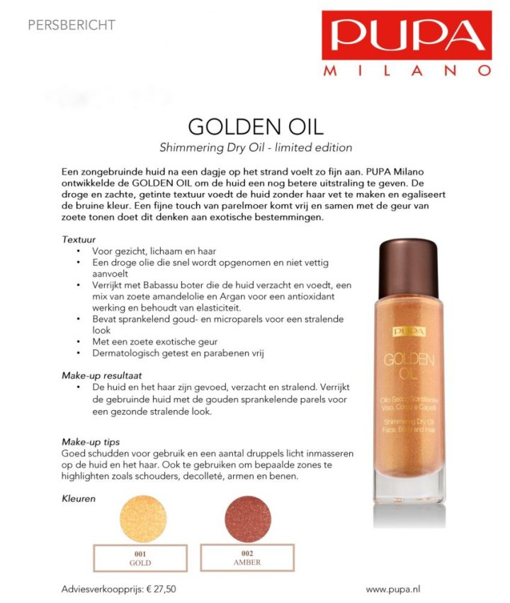 Pupa, golden, oil, persbericht, beauty, yustsome, blogger, care, cosmetics