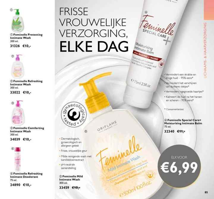 FEMINELLE, vagina, wash, wassen, PH, waarde, jeuk, geur, blog, review, yustsome, Oriflame, Bianca, sietsma